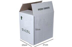 CARTON BOX WHITE 31x23x32cm 3 SHEETS 12x0,75lt